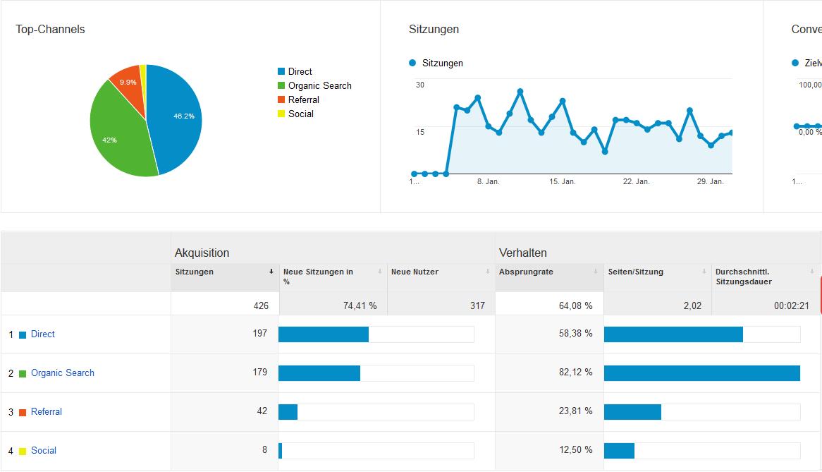 Google Analytics auszug vom Januar 2015