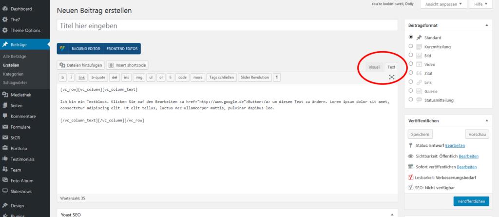 Von Visuell in die Text (HTML) Ansicht